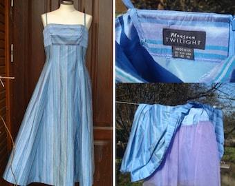 Vintage Dupioni Silk Dress; Maxi Striped Blue Party Dress; US 10 Size Evening Dress Vtg; Monsoon Twilight Raw Silk Strap Dress Made in UK