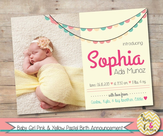 Baby Girl Birth Announcement Printable Baby Announcement – Baby Birth Invitation Card