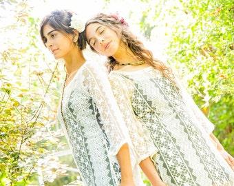SALE 40% OFF - Boho Dress - White Lace dress - Summer Dress - Bohemian Dress - Lace Tunic - Fairy Dress