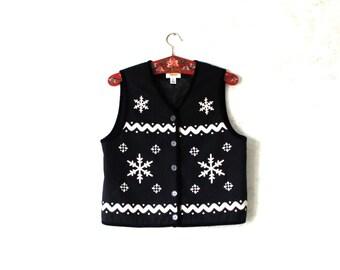 Vintage Black Wool Vest  Snowflake Womens Size Medium