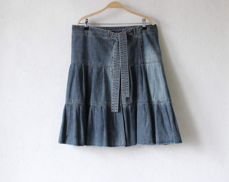 blue gray denim skirt cotton ruffle skirt by