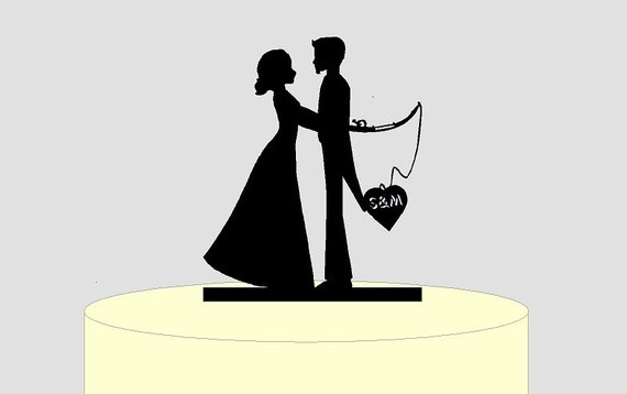 Personalized Cake Topper Wedding Couple With Fly Fishing Rod