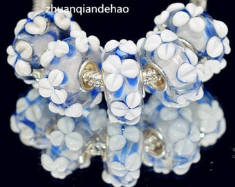 1pc Blue Flower Murano Glass Bead