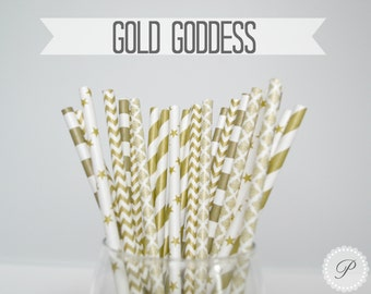 GOLD GODDESS Paper Straws // Chevron - Stars - Stripes - Damask // 5 Designs