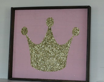 Glittery Gold Princess Crown Wood Sign with Frame, Girls bedroom Decor