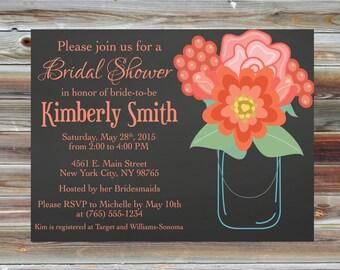 Canning Jar Bridal Shower Invitation - Floral Bridal Shower Invite - Custom Bridal Shower Invitation - Canning Jar Theme Shower