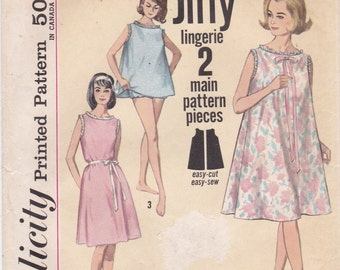 Sleeveless Nightgown and Panties Baby Doll Nightgown Vintage Simplicity Pattern 5002 Misses' Size Medium (14-16)
