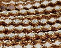 Diamond Mirror Trim | Sari Border Trim | Indian Craft Ribbon Sewing | Party Trim Lace | Boho Trim | Glamorous Trim AN0081