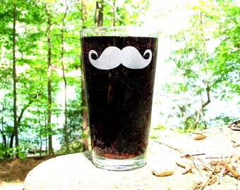 Mustache Beer Glass. Customize - Pick Your Stache. Pint Glass. Custom Beer Glass