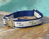 "Flip Flop Dog Collar - 5/8"" or 3/4"" Blue & Tan Adjustable Dog Collar with Metal Buckle and Navy Blue Nylon Webbing"