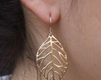 Wide Leaf Dangle Earrings, 14K Yellow Gold Plated Earrings