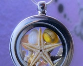 REAL SEASTAR and real SHELLS in a 30 mm two sided glass pendant - necklace. Glass Locket Beach Sea silver snake chain necklace.