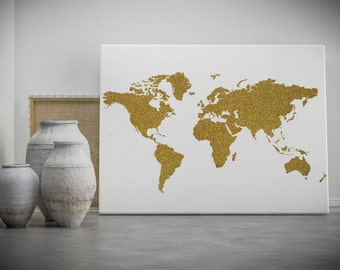 Gold world map world map printable map poster map wall art gold world map printable wall art gold glitter world map poster golden world sciox Image collections