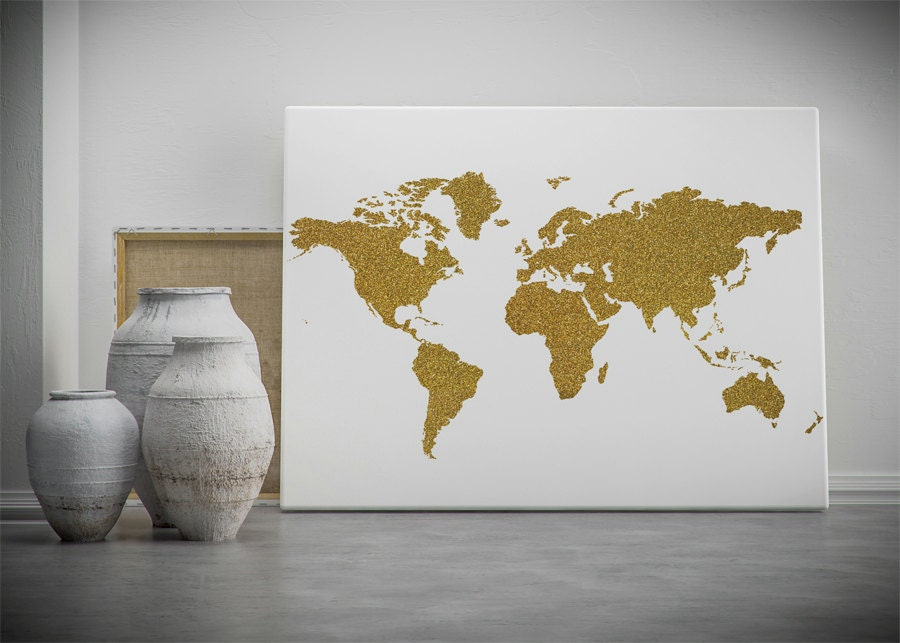 World Map Wall Decor gold world map printable wall art gold glitter world map