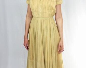 Mustard Yellow 50s house dress size SMALL/XS