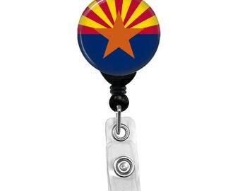 Arizona State Flag Badge Reel ID Card Retractable Custom Flag Badge Holder