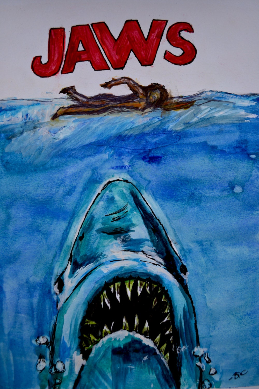 Original Jaws Hand Made Jaws Movie Poster by ...