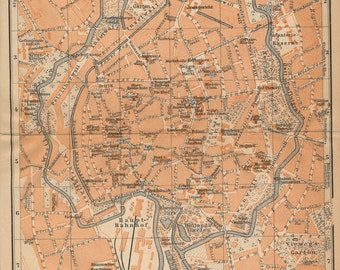 1910 Braunschweig Germany Antique Map
