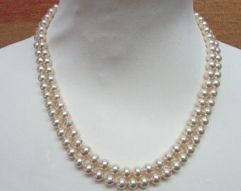 1950s faux pearl double-strand collar necklace