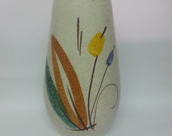 1950s Bulrush pattern German pottery vase