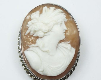 Cameo Pin Vintage Greek Goddess Demeter Harvest Goddess Shell Cameo Pin Sterling Silver Large Cameo Brooch High Relief Cameo Pendant