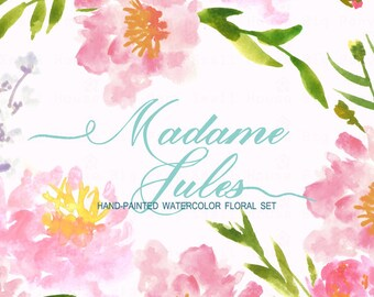 Watercolour Floral Clipart: Pink Peonies, Watercolour Clip Art/Flowers/Individual PNG files/Hand Painted-Madame Jules