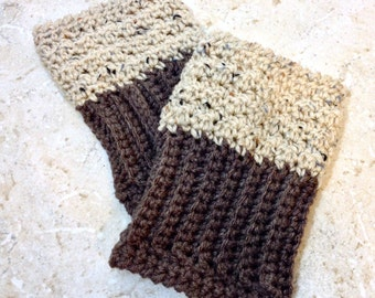 Reversible Boot Cuffs Oatmeal Brown Boot Socks 2 in 1 Boot Toppers Tan Crochet Leg Warmers Wheat Knit Bootcuffs Adult Sizes Brown and Tan
