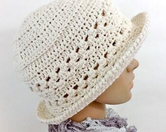Cotton Cloche Hat Natural White Cotton Spring Summer Garden Hat Beach Ecru Brim Hat Handmade Crochet Sun Hat Women Adult Brimmed Summer Hat