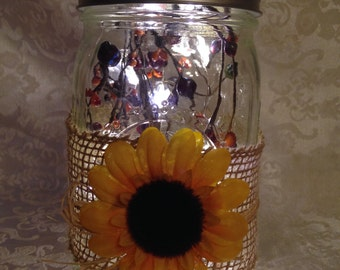 Rustic Mason Jar Lantern - Autumn Sunflowers Design