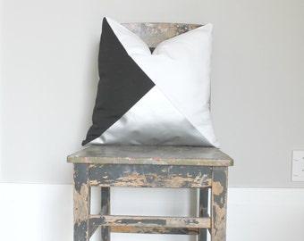 Geometric Black, White & Metallic Silver Pillow Cover, Gorgeous home decor monochrome Silver cushion cover. Throw Pillows Cushions