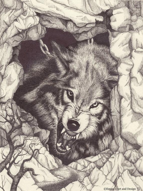 Fenrir chained knurrt wolf zeichnen druck von original for Lupo disegno a matita