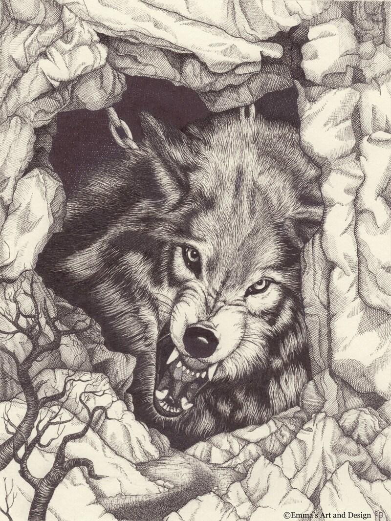 Fenrir chained ringhiando lupo disegno stampa di for Lupo disegno a matita