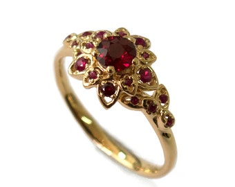 Ruby Petal Engagement Ring - 18K Gold and Ruby engagement ring, leaf ring, flower ring, natural ruby ring, halo ring, rubies leaf ring, 2B