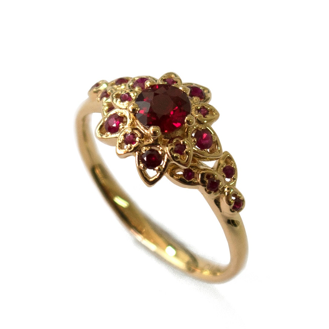 ruby petal engagement ring 18k gold and ruby engagement. Black Bedroom Furniture Sets. Home Design Ideas
