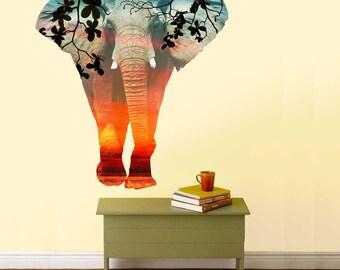 Double Exposure Elephant Wall Decal- Elephant Wall Decal by Chromantics