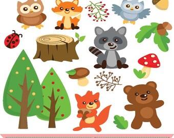 Woodland animals clip art set   ,digital illustration , web graphic , instant download