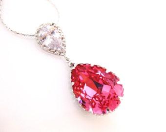 Rose Pink Necklace Swarovski Crystal Teardrop Necklace Hot Pink Necklace Cubic Zirconia Teardrop Necklace Ruby Red Necklace (N036)