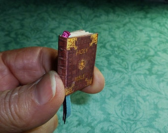 BIBLE, Miniature Dollhouse Book, Beautiful Antique Pages with Gorgeous Artwork, 32 Pages!