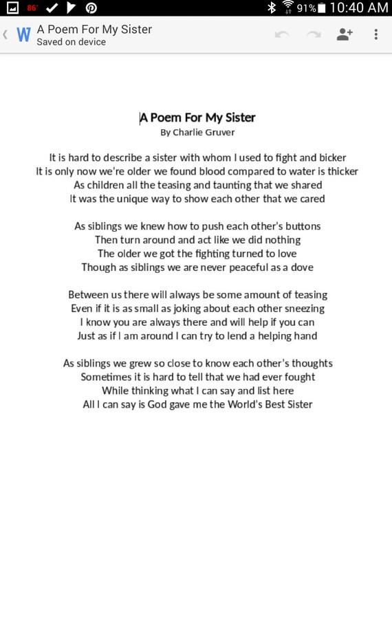 Inspirational Poems Sisters Poem Sister Appreciation