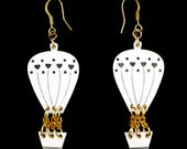 Hot Air Balloon Earrings, Hot Air Balloon Jewelry, Laser Cut Earrings, Cute Earring, White Ear Balloon Earrings, Hot Air Balloon Gift
