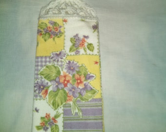 Violets and Posies Hanging Kitchen Towel