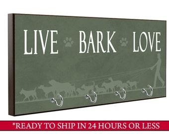Green Live Bark Love Dog Leash Holder, Dog Leash Hook, Wall Key Holder, Key Rack, Decorative Key Hook, Brown Home Decor