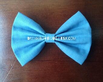 Denim Hair Bow, Blue Hair Bow