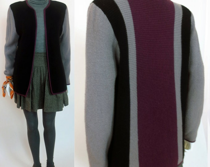 80s Catherine Baba inspired color block striped knit jacket