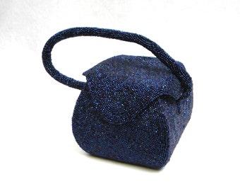 50s Navy Blue Beaded Evening Bag | Beaded Box Purse | Josef Belgium