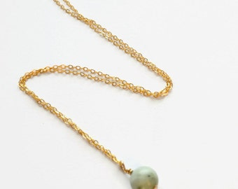 Turquoise and Gold-Fill Necklace, Handmade, Minimalist