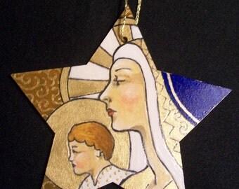 Hand Painted Madonna & Child Christmas tree decoration