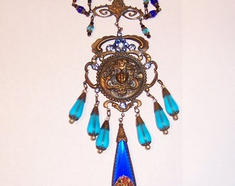 Czechoslovakian Turquoise and Cobalt Blue Bib Necklace
