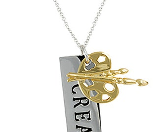 Two-tone Tag Necklace : 'Create'