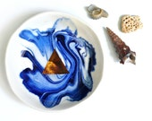 PACIFIC - Ocean Jewellery Bowl - Blue Marbling - Copper Lustre Triangle - Stoneware Clay - Made to Order - Free Postage Australia Wide